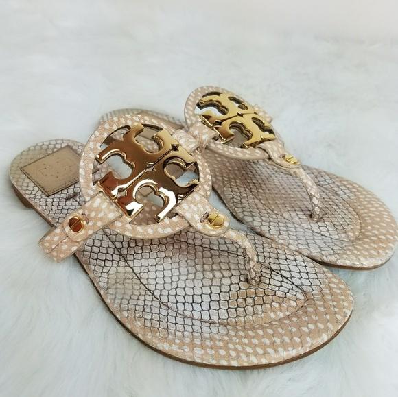876f9f4cbf5c4 Tory Burch Miller Sandal Nude Snakeskin Size 6-6.5